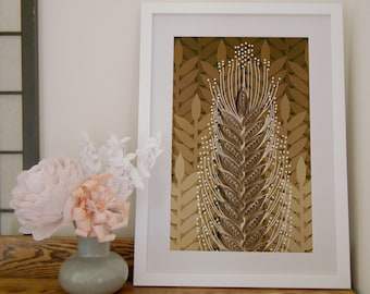 Wheat Paper Art Print, Quilled Wheat Sheaf, Hand Drawn Wheat Field, Wheat print, Golden yellow and brown, autumn decor, paper quilling print