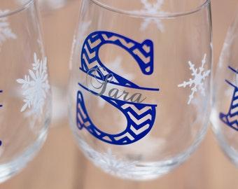 Christmas wine glasses, chevron monogram, snowflake glasses personalized holiday, winter wedding, bride and groom gift idea Bridesmaid gift