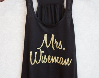 Bride tank top.  Personalized Mrs. shirt.  Glitter wording.  Racerback tanks for bridal party, Maid of Honor, Bridesmaid. Bridal shower gift