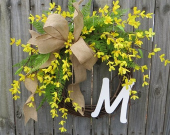 spring wreath for front doorForsythia wreath  Etsy