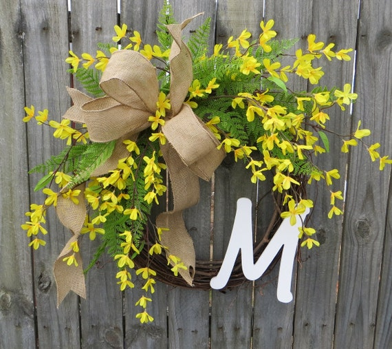 Front Door Wreath, Door Wreath, Spring Wreath, Forsythia Wreath, Yellow Wreath, Monogram Wreath, Burlap Bow, Burlap Wreath