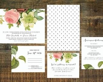 Printable Garden Wedding Invitation Suite   Floral Wedding Invitation, Wedding Invitation Set, Wedding Invite, Custom Wedding Invitation