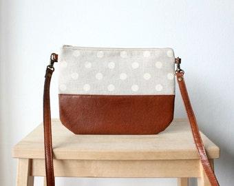 Leather polka dot small crossbody bag,every day bag,brown, grey, minimal, cute, Vegan