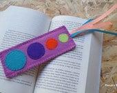 Solar System Felt Bookmark - Purple Violet Lime Green Orange Turquoise Felt Bookmark OOAK Eco-friendly Handmade Bookmark