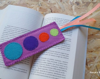 Solar System Felt Bookmark - Purple Violet Lime Green Orange Turquoise Felt Bookmark OOAK Eco-friendly Handmade Bookmark