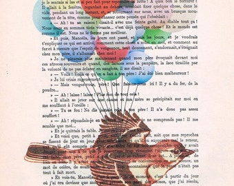 Flying bird Drawing Illustration Giclee Prints Posters Mixed Media Art Acrylic Painting Holiday Decor Gifts x