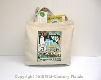 Tomorrow Land Large Canvas Tote Bag 100% Cotton Disney Mid Century Modern Art