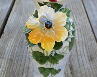Majolica Vase, Flower Vase, Bouquet, Porcelain, Ceramic, Hand Painted and Sculpted