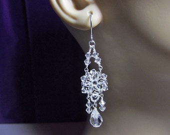 Clear Crystal Chandelier Drop Earrings, Christmas Gift, Bridesmaid Wedding Jewelry Gift, Mom Sister Grandmother Aunt Girlfriend Gift