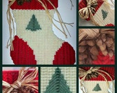 Christmas holiday stocking with tree magnet with raffia bow and pine cones made from plastic canvas and yarn
