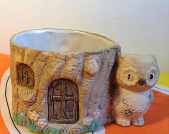 Vintage Owl Planter.  Mid century modern, Kitsch, Eames era.