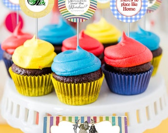 Wizard of Oz Party Circles/Cupcake Toppers - INSTANT DOWNLOAD - Editable & Printable Birthday Decorations by Sassaby Parties