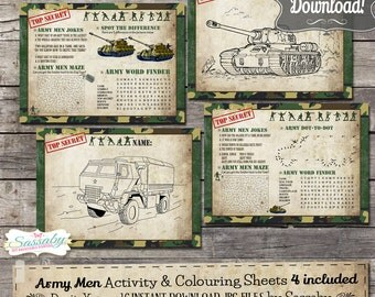 Army Men Activity & Coloring Sheets/Placemats - INSTANT DOWNLOAD - Birthday Party Decorations by Sassaby