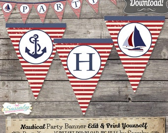 Nautical Party Banner - INSTANT DOWNLOAD - Editable & Printable Sailboat, Sea, Sailing, Birthday Decor, Bunting, Decorations