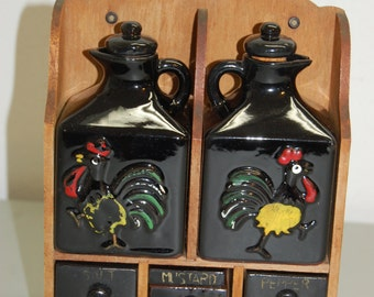 Vintage ROOSTER redware salt pepper oil vinegar condiment set wood shelf JAPAN