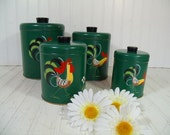 Retro Ransburg Rooster ToleWare Round Metal Nesting Canisters Set - Vintage Matching Hand Painted on Green Enamel Cans & Lids Kitchen Decor
