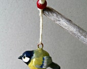 Polymer Clay Bird Ornament - Spring Decor - The Great Tit Ornament - Bird Figurine - Chickadee Decor - OOAK