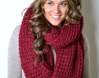 Cranberry Super Chunky, Long, Thick, Cranberry Honeycomb Scarf, Infinity Loop Scarf, Circle Scarf, Snood, Cowl, Chunky Infinity Scarf, women