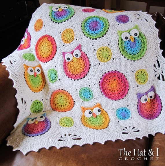 CROCHET PATTERN - Owl Obsession - a colorful owl afghan pattern, crochet blanket pattern, baby blanket, owl blanket - Instant PDF Download