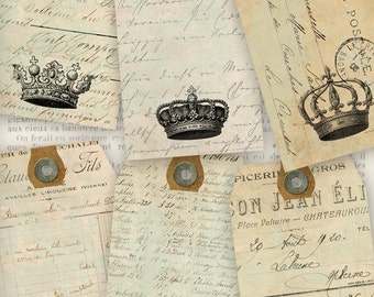 Crowns Ephemera Tags shabby chic printable gift tags instant download digital Collage Sheet VD0586