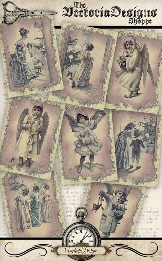 Christmas Vintage Family Angels ATC images printable vintage printables digital graphics instant download Digital Collage Sheet - VD0180