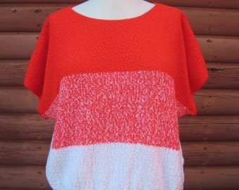 Vintage 1980s Fire Engine Red and Cream Pullover by Brunny