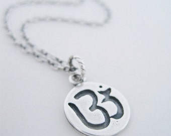 Om Necklace, SIlver Om Necklace, Om Charm Necklace