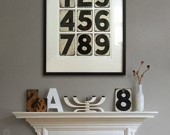 Cricket Run – Vintage cricket scoreboard numbers, monochrome print. Distressed numbers, shabby chic, gift for him. 420 x 594mm