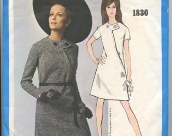 1960s Vogue Americana 1830 Bill Blass Misses Mod Asymmetrical A Line Dress with Jewel Neckline Vintage Sewing Pattern Bust 34