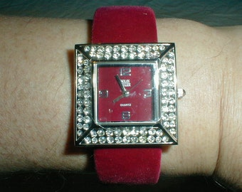 nolan miller red velvet pave crystal watch glamour collection town square watch sparkling crystals square watch statement watch elegant vtg