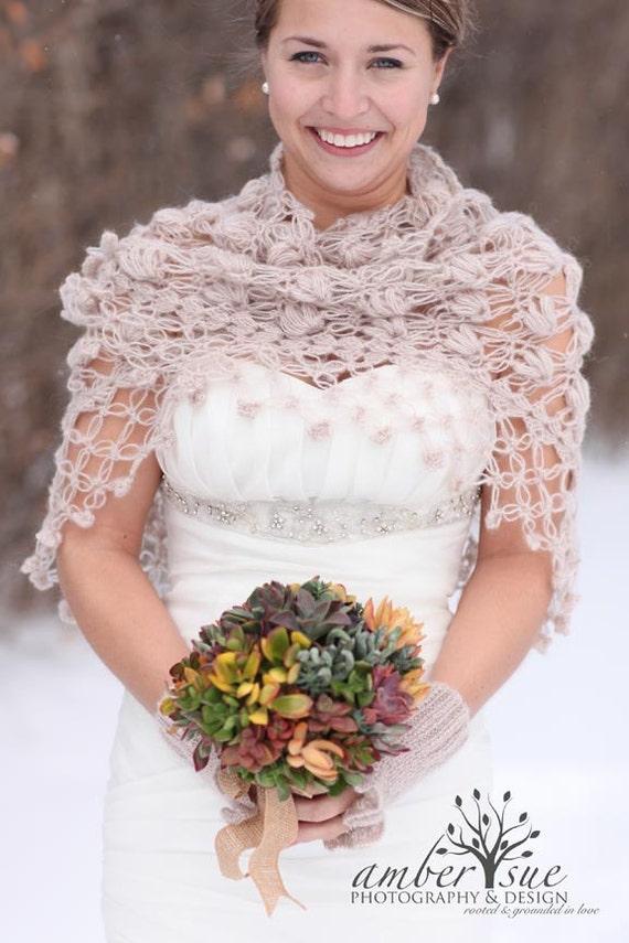 Bolero Scarf Shawl Neckwarmer Crochet Pattern : Bridal Shrug Bridal shawl Wedding shawl Beige shawl by ...