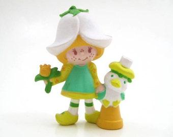 Vintage Strawberry Shortcake Friends - Mint Tulip with Pet Marsh Mallard on Clay Pot, PVC Mini-Figure, Miniature Figure