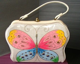 Vintage 1960s Purse Butterfly Sparkle and Gems on Linen