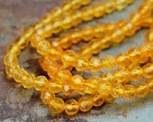 Citrine 4mm round faceted yellow jewelry beads -7 inch strand