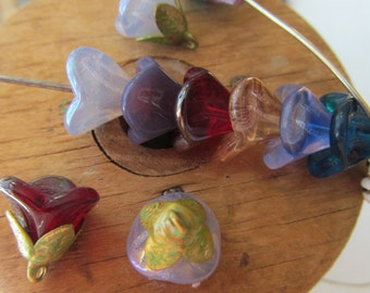 Mixed Colors Czech Glass Bell Flower  Beads
