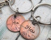 His and Hers Keychains - Personalized Couples KeyChains - Hand Stamped KeyChain - Hand Stamped Penny - Personalized Keychain - Wedding Gift