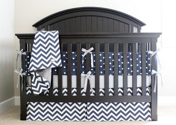 Blue Crib Bedding Set Baby Boy Nursery Cribset Navy Blue  Blue Crib Beddi...