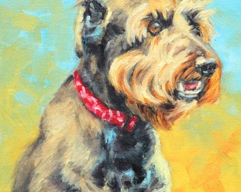 "8"" x 10"", Schnauzer, Custom Pet Portrait, Dog Painting, Pet, Oil Painting, Portrait Commission, Kim Stenberg, Rich Impressionistic Art"