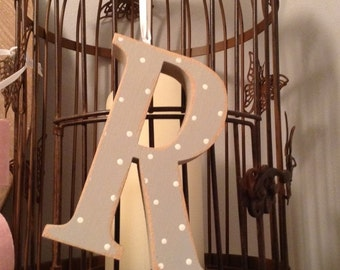 Hanging Wooden Letter Tag - R - Hand Painted - 10cm, Georgian Font - decoration, gift tag - various colours and finishes