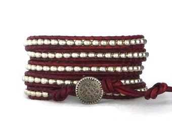 Beaded leather wrap bracelet, red leather, silver, 5x wrap, boho chic, silver seed beads
