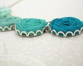 Mediterranean Green Necklace - Fabric Rose Necklace in Poseidon, Lagoon & Aloe