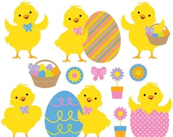 easter chicks clip art clipart digital - Easter Chicks Digital Clip Art