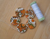 Ceramic buttons with orange, yellow and green flowers - paisley style buttons (decals) - set of 5