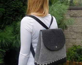 Grey lovely handmade fashionable Big Size Felt Backpack with anthracite felt purse felted everyday use extra large folk flounce