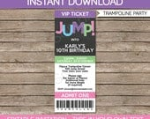 Trampoline Party Ticket Invitations for Girls - Birthday Party - INSTANT DOWNLOAD with EDITABLE text - you personalize with Adobe Reader