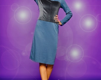 PALOMA Wool jersey dress with contrasting velvet paneling