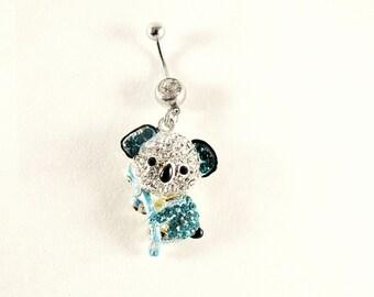Belly Ring,  Blue Koala Bear With Rhinestones,  Womens Gift  Handmade