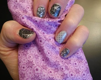 Small purple rice bag to help apply heat activated nail wraps