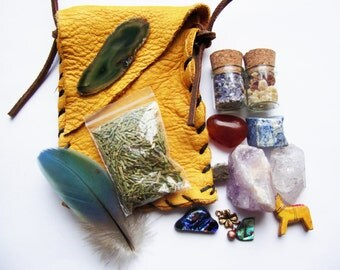 CUSTOM medicine pouch filled with organic sacred herbs,resins,vials and gemstones