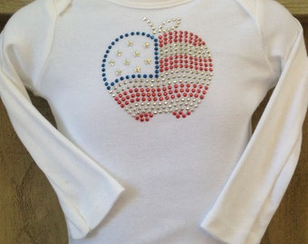 Long-Sleeve Onesie - Patriotic Bedazzle Apple